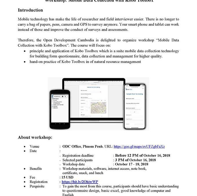 "Open call for a 2 days workshop on ""Mobile Data Collection with Kobo Toolbox"""